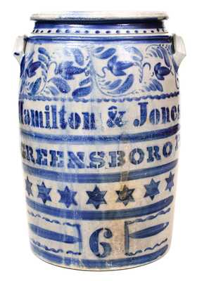 Hamilton & Jones / GREENSBORO, PA Profusely-Decorated Stoneware Jar