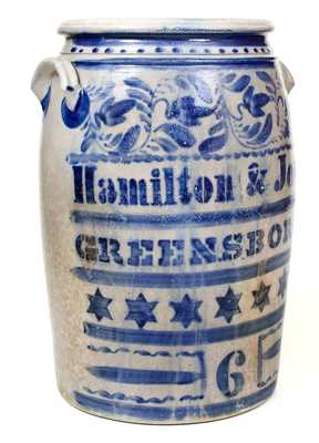 Exceptional 6 Gal. Hamilton & Jones / Greensboro, PA Stoneware Jar wi/ Profuse Stars and Freehand
