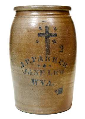 Fine Jane Lew, WV Stoneware Jar w/ Stenciled Cross Design