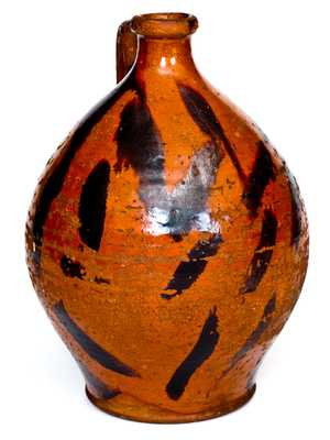 Very Rare Cain Pottery, Sullivan County, Tennessee Redware Jug with Elaborate Manganese Decoration