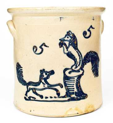 Outstanding HUBBELL & CHEESBRO / GEDDES, NY 5 Gal. Stoneware Crock with Dog Chasing Fox Decoration
