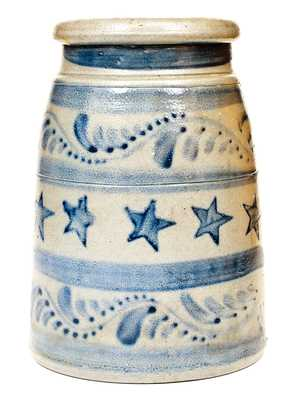 Western PA Stoneware Canning Jar w/ Profuse Stenciled Cobalt Star and Freehand Decorations