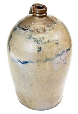 Dove & Isacks / Druggists / Richmond / Va Stoneware Jug, attrib. Stephen B. Sweeney, Henrico County, VA, 1847-51