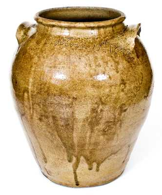 Early Dave (David Drake) Stoneware Jar, October 13, 1843, Reverend John Landrum Pottery, Horse Creek Valley, Edgefield District, SC