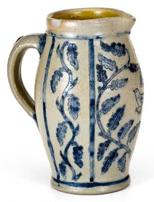 Outstanding Small-Sized Remmey, Philadelphia Pitcher w/ Elaborate Floral and Bird Decoration