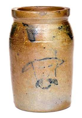 Important Pint-Sized Stoneware Jar att. R. J. Grier, Chester County, PA, with Cobalt Self-Portrait of Grier