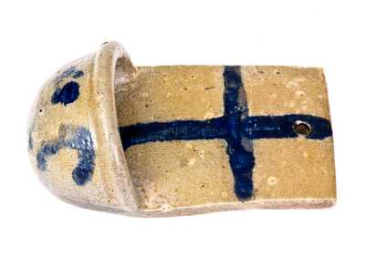 Extremely Rare and Important Stoneware Holy Water Font with Cobalt Cross and Floral Decoration