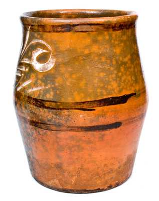 Outstanding Large-Sized Redware Jar, Rochester-Genesee Valley, NY, circa 1840-60