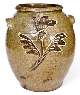 Exceptional Collin Rhodes, Edgefield, SC, Stoneware Jar with Two-Color Slip Decoration