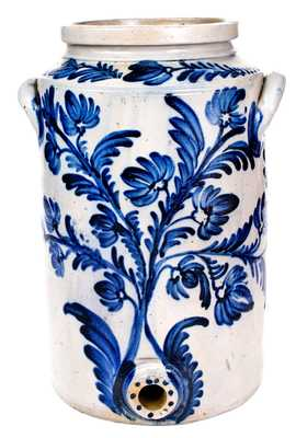 Five-Gallon Baltimore Stoneware Water Cooler w/ Profuse Cobalt Floral Decoration