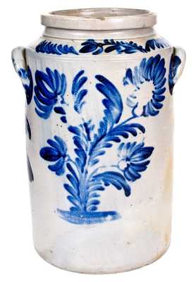 Outstanding 5 Gal. Stoneware Water Cooler with Bold and Elaborate Cobalt Floral Decoration, Baltimore, MD, circa 1840