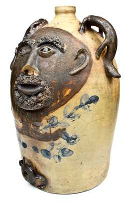 Monumental Ohio Stoneware Water Cooler w/ Applied Face and Reptiles