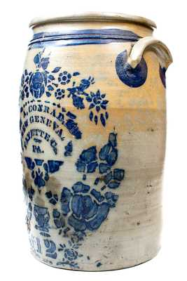 Outstanding 12 Gal. A. CONRAD / NEW GENEVA / FAYETTE CO., PA Stoneware Jar with Vibrant Stenciled Decoration