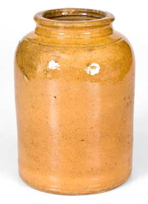 JOHN BELL (Waynesboro, Pennsylvania) Yellow-Glazed Redware Canning Jar