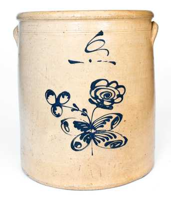 Fine 6 Gal. Ohio Stoneware Crock w/ Woman s Bust and Floral Decoration