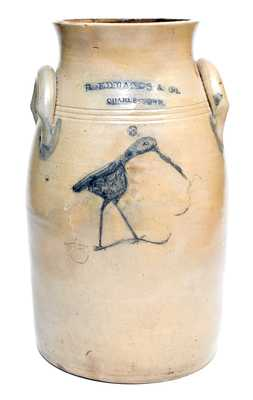 Outstanding B. EDMANDS & CO. / CHARLESTOWN, MA Stoneware Churn with Elaborate Incised Spouting Whale and Shorebird Decoration