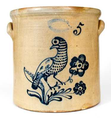 5 Gal. J. BURGER JR. / ROCHESTER, NY Stoneware Crock with Slip-Trailed Bird Decoration