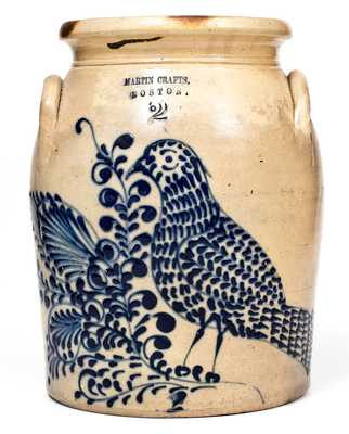 Rare and Exceptional MARTIN CRAFTS / BOSTON Stoneware Jar w/ Elaborate Slip-Trailed Bird Design