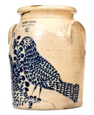 Rare and Exceptional MARTIN CRAFTS / BOSTON 2 Gal. Stoneware Jar with Elaborate Slip-Trailed Bird and Floral Decoration