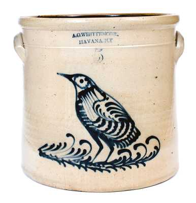 5 Gal. A. O. WHITTEMORE / HAVANA, NY Stoneware Crock with Detailed Bird Decoration