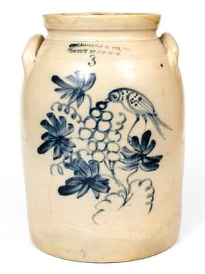L. LEHMAN & CO. / WEST 12 ST. N Y Stoneware Jar w/ Bird and Grapes Scene