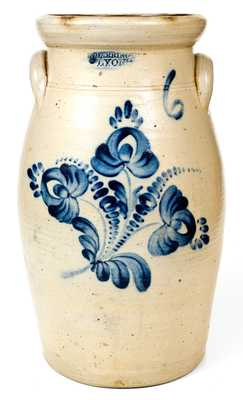 Fine 6 Gal. T. HARRINGTON / LYONS Stoneware Churn with Floral Decoration