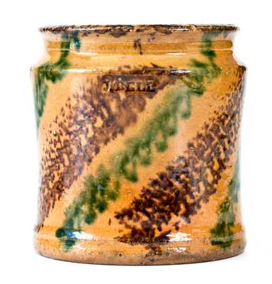 J. BELL Redware Jar w/ Profuse Multi-Colored Slip Decoration