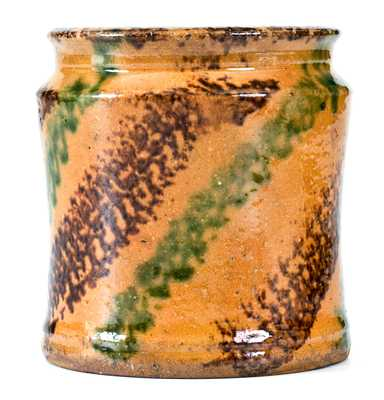 Outstanding J. BELL, John Bell, Waynesboro, PA Redware Jar with Multi-Colored Slip Decoration