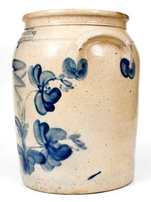 Rare WILLSON S & YOUNG / HARRISBURG, PA Stoneware Jar with Floral Decoration