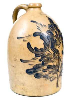 Exceptional M. & T. MILLER / NEWPORT, PA Stoneware Jug w/ Elaborate Bird and Floral Decoration