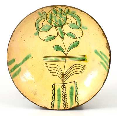 Very Fine PA Sgraffito Redware Plate w/ Flowering Urn, possibly H. Roadebush, Montgomery Co, PA