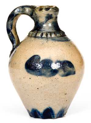 Fine Miniature New York State Stoneware Jug w/ Profuse Scalloping and Cobalt Decoration