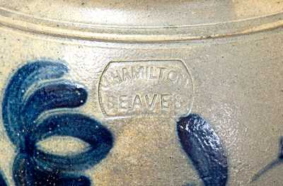 Outstanding 8 Gal. J. HAMILTON / BEAVER Open-Handled Stoneware Jar with Floral Decoration