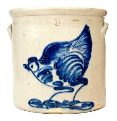 Exceptional 6 Gal. Stoneware Crock with Large-Sized Chicken Decoration