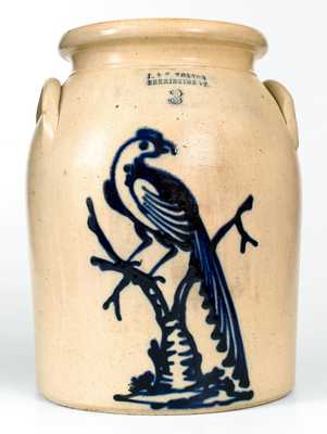 Fine J. & E. NORTON / BENNINGTON, VT Stoneware Jar w/ Exceptional Pheasant Decoration