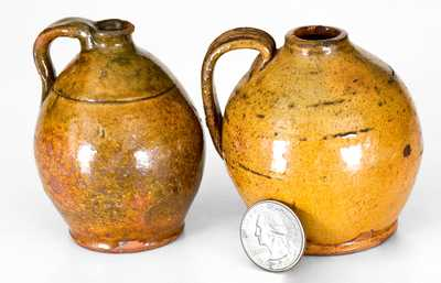 Lot of Two: Miniature New England Redware Jugs with Bright Glazes