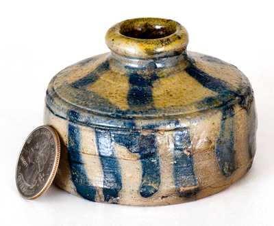 New York State Stoneware Inkwell w/ Elaborate Striped Decoration, circa 1830
