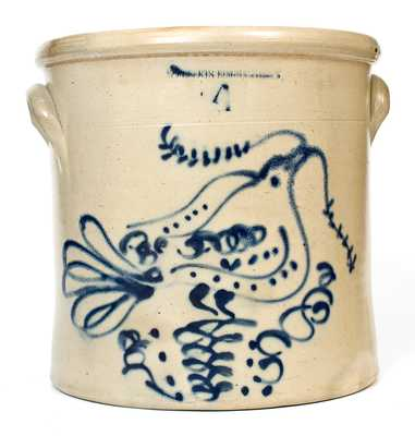 Rare W. ROBERTS BINGHAMTON, NY Stoneware Crock w/ Dove of Peace Decoration