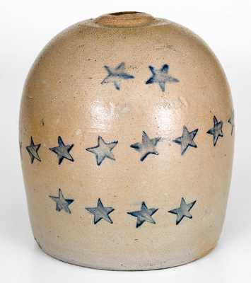 Rare Western PA Stoneware Bank with Stars Decoration