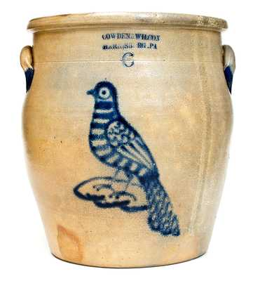 Outstanding COWDEN & WILCOX / HARRISBURG, PA Six-Gallon Stoneware Bird Jar