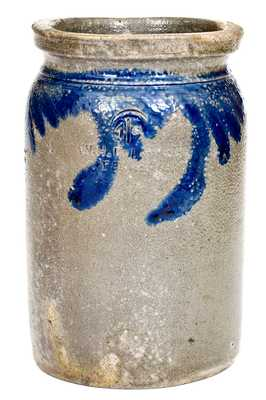 W.H. Lehew & CO. / Strasburg, VA Half-Gallon Stoneware Jar w/ Cobalt Floral Decoration