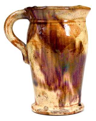 Redware Pitcher with Cream and Brown Decoration, Strasburg, VA, circa 1890