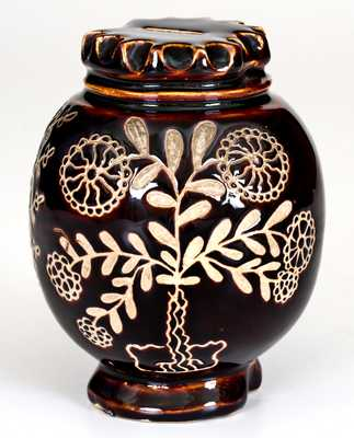 Exceptional Summit County, Ohio Stoneware Bank w/ Elaborate Incised Floral Decoration