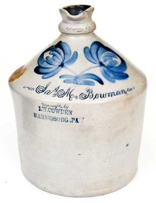 Rare and Important J. W. COWDEN / HARRISBURG, PA Syrup Jug w/ Muncy, PA Inscription