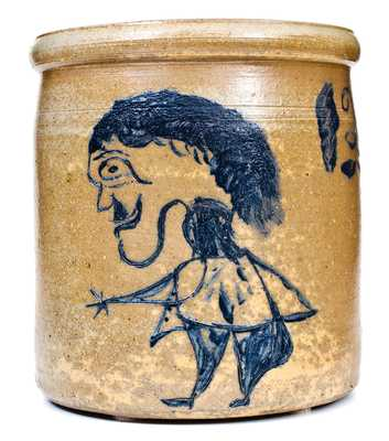 Exceptional Ohio Stoneware Crock w/ Incised Folk Art Figure of a Man