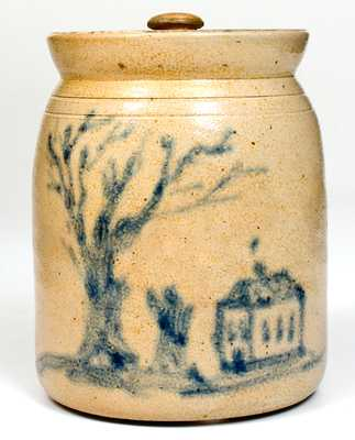 Outstanding attrib. Cortland, NY Stoneware Jar w/ Cobalt House Scene