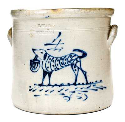 Fine 4 Gal. S. HART / FULTON Stoneware Crock w/ Dog with Basket Decoration