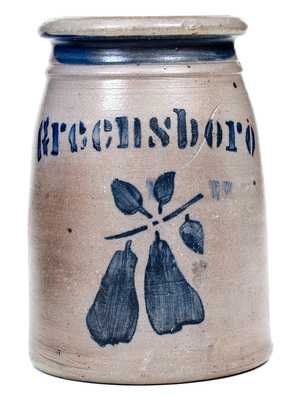 Outstanding Small GREENSBORO Stoneware Canning Jar w/ Pears Decoration