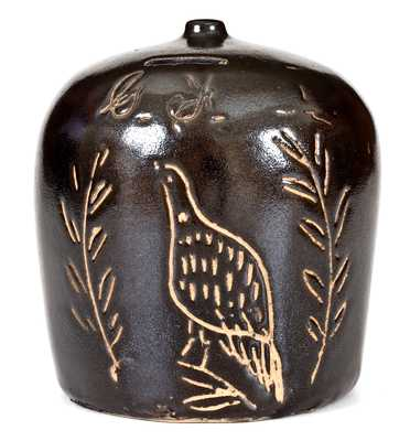 Rare Ohio Stoneware Bank with Incised Bird Decoration Inscribed