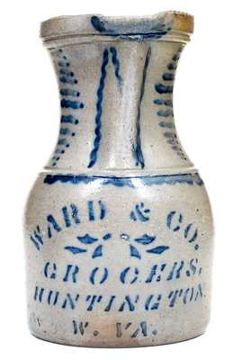 Outstanding WARD & CO. / GROCERS / HUNTINGTON, W. VA Stoneware Pitcher